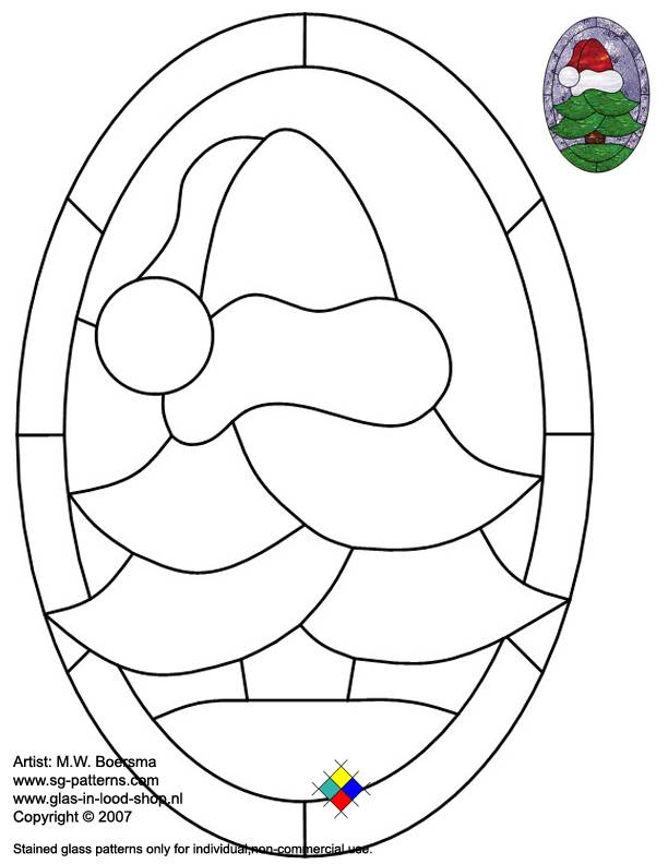 ☆ Stained Glass Patterns for FREE ☆ Glass pattern 044 Christmas ☆