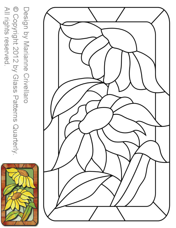 ☆ Stained Glass Patterns For FREE ☆ Glass Pattern 40 Sunflower ☆ Adorable Stain Glass Patterns