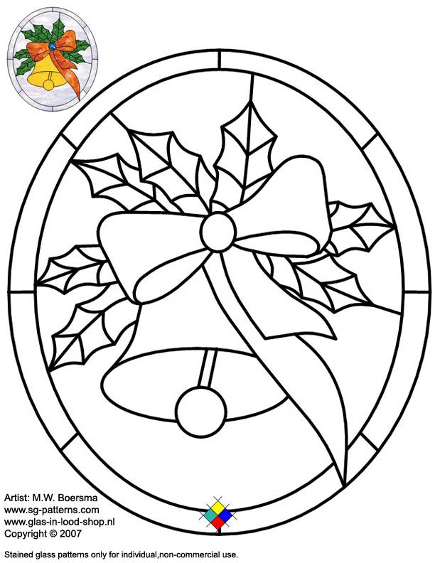 Stained Glass Patterns For Free Glass Pattern 054 Christmas
